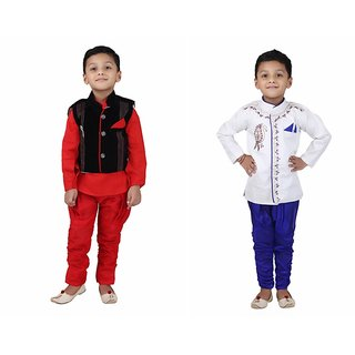 Crazeis Multicolor Cotton Indo Western - Pack Of 2