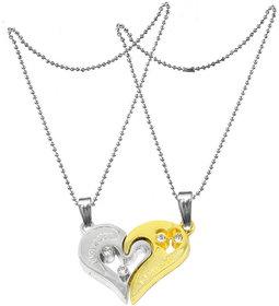 Men Style 2pcs His and Hers Heart-shape I Love You Couple Necklace SPn007033 Zinc Pendant Set  Silver And Gold  Zinc Alloy Heart Pendant Necklace