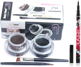 musiic flower gel eyeliner with pencil eyelinere (black brown)