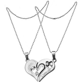 Men Style Couple Stainless Steel Necklace Sets I Love You Heart Shape Penda