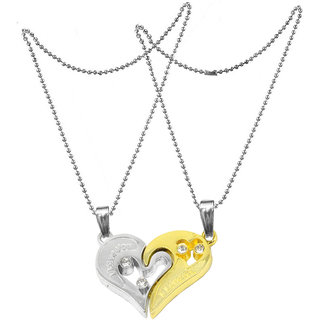 Men Style 2pcs His and Hers Heart-shape I Love You Couple Necklace SPn007033 Zinc Pendant Set  Silver And Gold  Zinc Alloy Heart Pendant Necklace