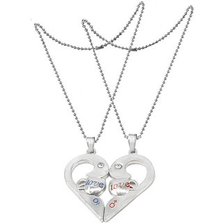 Men Style Valentines Gift Ideas for Her And His Romantic Couple Love You HeartLocket With 2 Chain  SilverRedBlue  Zinc Alloy Heart Pendant Necklace