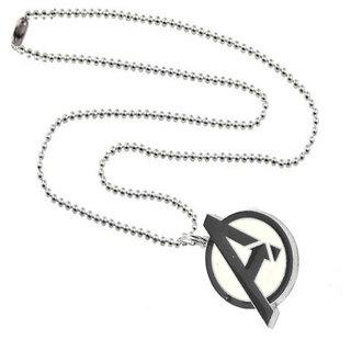 Men Style Alphabet A Locket With Chain  Black And Silver  Zinc Alloy Alphabet Pendant Necklace