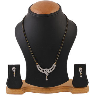 Chrishan Gold Pated American Diamond Mangalsutra Set For Women.