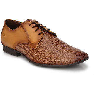 Hitz Mens Tan Original Leather Derby Formal Shoes