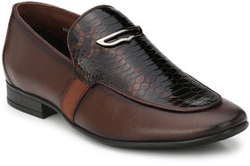Hitz Men's Brown Original Leather Slip On Formal Shoes