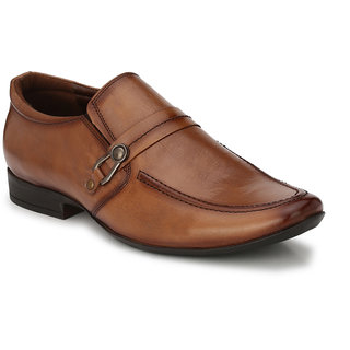 Hitz Mens Tan Original Leather Slip On Formal Shoes