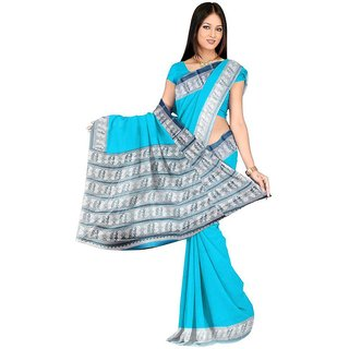 Sharda Creation Light Blue Colour Taffeta Silk Saree Without Blouse Piece