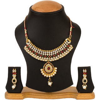 CHRISHAN GOLD PLATED NECKLACE SET FOR WOMEN.