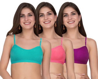 Maroon Multi Color Cotton 3 in one bra transparent strape normal strape halterneck strape Set of 3 Women's Bra Combo