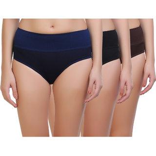 Maroon Multi Color Cotton Set of 3 Women's Panty Combo