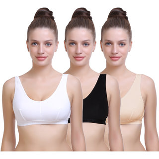 Maroon Multi Color Cotton Set of 3 Women's Sports Bra Combo