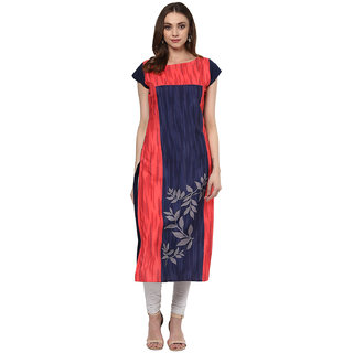 Ziyaa Multicolor Long Crepe Stitched Kurti