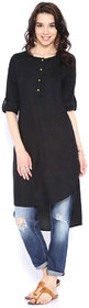 Shree Wow Solid Straight Calf Length Black Crepe Kurti For Women