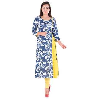 Shree Wow Floral Print Straight Long Yellow Crepe Kurti For Women