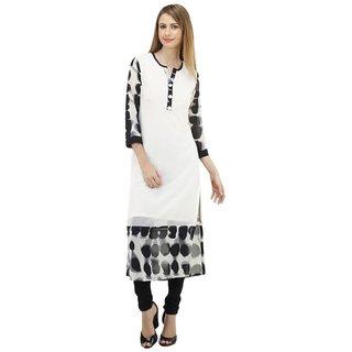 Shree Wow Solid Straight Calf Length White Crepe Kurti For Women