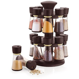 694e0d6061a8 SRK 16-Jar Brown Revolving Masala/Spice Rack