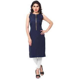 Shree wow Women's Blue Solid Stitched Kurti