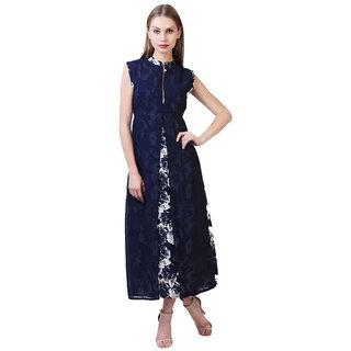 Shree Wow Floral Print Straight Calf Length Blue Crepe Kurti For Women
