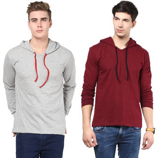 Jangoboy Solid Men's Hooded Grey, Maroon T-Shirt(Pack of 2)
