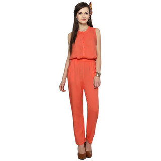 Shree Wow Solid Pink Crepe Jumpsuits