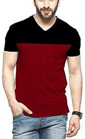 Veirdo Men's Solid V-Neck Casual T-shirt