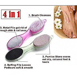NEW-4 in 1 Multi-use Foot Care Brush Pumice Scrubber Pedicure Tool Set Pack Of 1 ( Multi color )