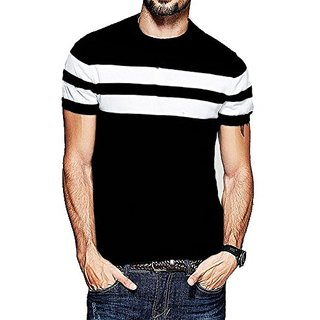 Veirdo Men's Striped Round Neck Casual T-shirt