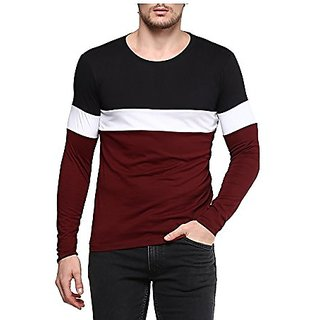Veirdo Men's Multicolour Solid Round Neck Casual T-shirt