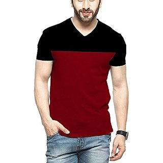 Veirdo Men's Solid V-Neck Casual T-shirt