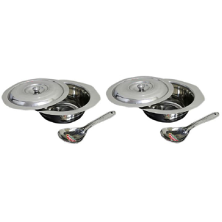 Set of 2 Serving Bowls with lids Serving Spoons