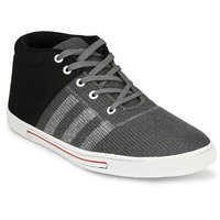 Groofer Men's Grey And Black Lace-up Casual Shoes