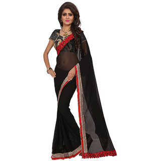 5edac719f7 Women's Black Colored Party Wear Georgette Embroidery Saree With Blouse pis