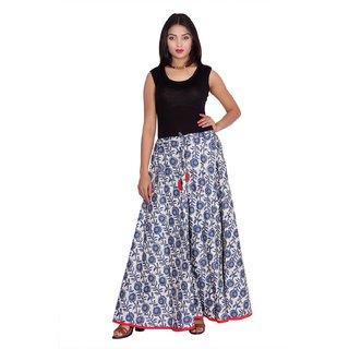 Kastiel Women's Blue Printed Regular Skirt