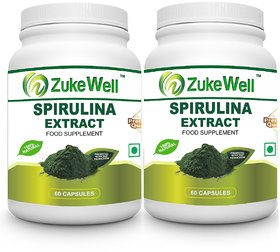 Spirulina Extract 500 mg (60 Pure Veg Capsules) for Digestion-Pack of 2