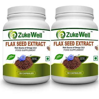 Flax Seed Extract 500 mg (60 Pure Veg Capsules) For Joint Pain-Pack of 2