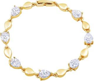 Asmitta Exquitely Pear Shape Stone Gold Plated Bracelet For Women