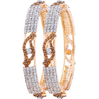 Asmitta Gleaming Gold Plated LCT Stone Bangle Set For Women