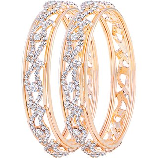 Asmitta Bewitching Gold Plated Fancy Stone Bangle Set For Women