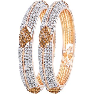 Asmitta Eye-Catchy Gold Plated LCT Stone Bangle Set For Women