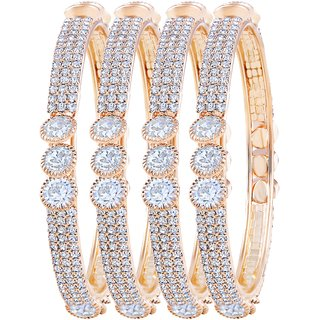 Asmitta Enchanting Gold Plated Fancy Stone Set Of 4 Bangles For Women