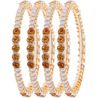 Asmitta Classy Gold Plated LCT Stone Set Of 4 Bangles For Women