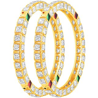 Asmitta Beguiling Gold Plated Fancy Stone Bangle Set For Women