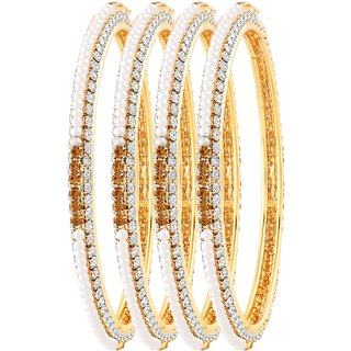 Asmitta Graceful Gold Plated LCT Stone Set Of 4 Bangles For Women