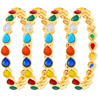 Asmitta Alluring Gold Plated Austrian Stone Set Of 4 Bangles For Women