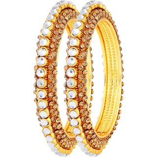 Asmitta Exquitely Gold Plated LCT Stone Bangle Set For Women