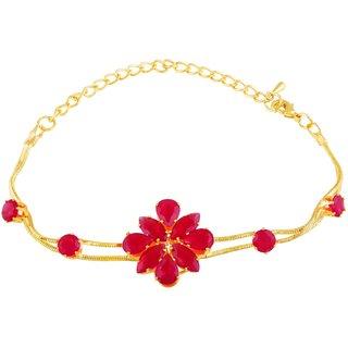 Asmitta Alluring Gold Plated kundan Pink Bracelet For Women