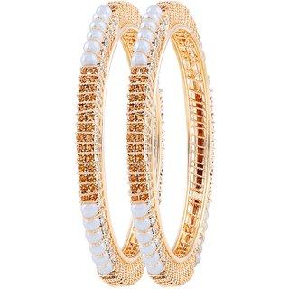 Asmitta Elegant Gold Plated Austrian Stone Bangle Set For Women