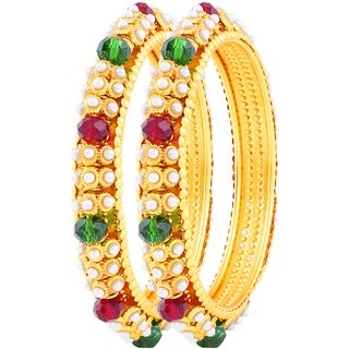 Asmitta Delightly Gold Plated Fancy Stone Bangle Set For Women