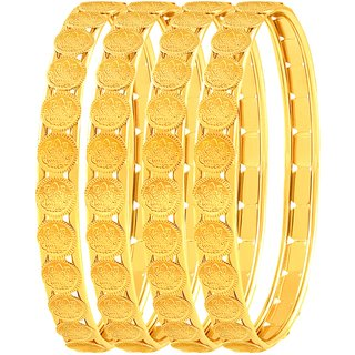 Asmitta Brilliant Laxmi Coin Gold Plated Set Of 4 Bangles For Women